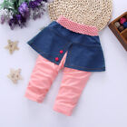 1pc toddler Baby girls bottoms girls cotton trousers pants denim dress attached