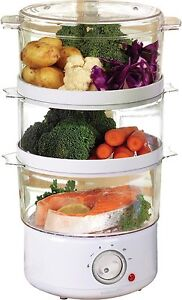 3 TIER CONTAINERS ELECTRIC FOOD PREPARATION WHITE STEAMER 7.2L CAPACITY 400W