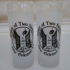 THE COURT OF TWO SISTERS New Orleans Mardi Gras Glasses Pair 2 of Vintage Jazz