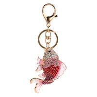Exquisite Crystal Fish Keychains Holder Goldfish Purse Bag Pendant Keyrings Q8