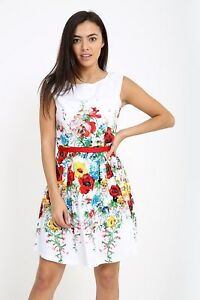 White Dress Floral Print With Red Tie Belt Matching Crop Jacket also available