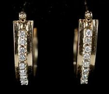 14k  Diamond Hoop Pierced Earrings ~ Yellow Gold ~ .50ctw