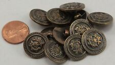 """Lot of 12 Antiqued Brass Tone Plastic Buttons Crest 11/16"""" 18mm # 6752"""