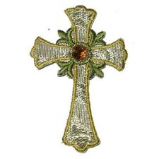 Cross Iron on Patch Applique -  Stunning Metallic Large Gold Cross with Gem