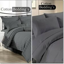 New 800 1000 1200 Thread Count Hotel Luxury Gray Color Bedding in Solid Striped