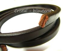 ♥CUERO10-02♥ 1 M. X 10 MM CUERO REGALIZ MARRON CHOCOLATE  ♥