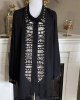 Bob Mackie Wearable Art Black Silk Chiffon Gray Embroidered Button Down Size 3X