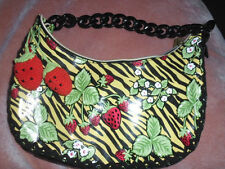 Rare Betsey Johnson Strawberry Zebra print Laminated  Hobo Bag