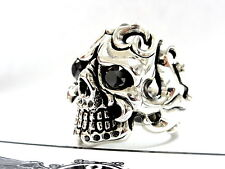 Men's 14K Solid White Gold Skull  Ring With Black Diamonds 2.20 CT