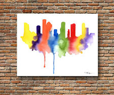 Houston Skyline Abstract Watercolor Painting Texas Art Print by Artist DJR