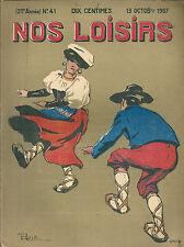 Nos loisirs # 41 1907 Illustrateur danse folklorique Berti Morin école de cocher