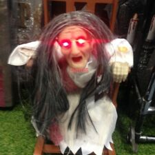 Animated Spooky Rocking Chair Witch Halloween Prop Light Up Eyes Sound