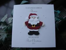 Personalised Handmade Baby's First Christmas Card Boy or Girl - Santa