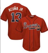 New Atlanta Braves Ronald Acuna JR #13 Jersey Men's Red Color