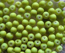 CLEARANCE 120 Neon Yellow Rubberised Glass Round Beads 6mm