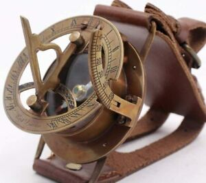 Brass Wrist Watch/Band Sundial Compass- Vintage Sundial Compass Old Time Concept