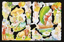 Die Cut Scrap Mamelok English Embossed - Playful Fairy / Fairies TOO CUTE   1727