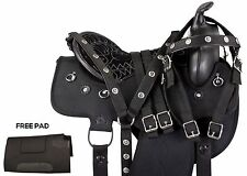 GAITED 16 17 WESTERN PLEASURE SYNTHETIC BLACK TRAIL HORSE SADDLE TACK SET