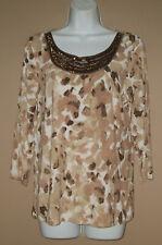Womens Size Medium Long 3/4 Sleeve Beaded Casual Fall Blouse Top Tee Shirt