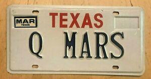 "MINT TEXAS VANITY AUTO LICENSE PLATE "" Q MARS "" TX SPACE PLANET EXPLORATION"