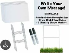 18x24 Durable Blank Yard Sign Kit 3510 Or 50 With Stakesfree Sharpies