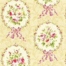 Cottage Shabby Chic Lecien Rococo Sweet Rose Cameos Cotton Fabric 31054L-10 BTY
