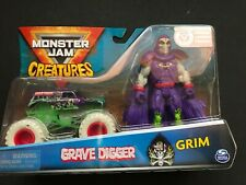 Monster Jam Creatures Grave Digger and Grim 2 Pack New