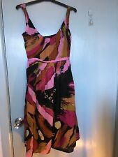 Veronica Maine cotton dress in black pink yellow and brown in size 6