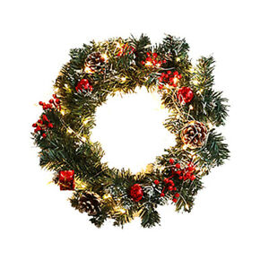 Artificial Christmas Pine Balls Wreath With Battery Powered LED Light String