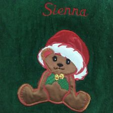 Adorable Christmas Bath Towel w/Baby Bear & Holly Berry Monogrammed Sienna