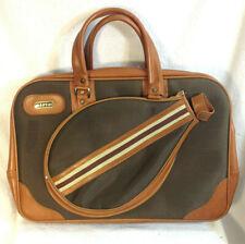 Vintage Carlo Montini Striped Tennis Racket Shoulder Messenger Bag Retro 70s