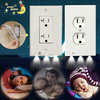 Wall Outlet Cover Plate 2 Plug With LED Night Lights Hallway Bedroom Bathroom