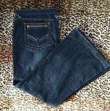 Love MXM Womens SZ 24W Dark Wash Slight Flare Studded Rocker Zip Pocket Jeans
