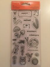 Clear Acrylic Stamp Set by Fiskars Forest Folktale Animals & Sayings 177230 NEW