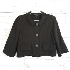 St John Brown Wool Blend Crop Jacket Coat Sweater Women's 16 Made In USA