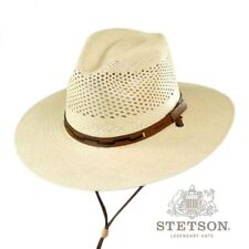 Stetson Men's Airway Chincord Panama Straw Safari Hat in Natural +leather S,M,XL