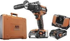 AEG 18v CORDLESS BRUSHLESS COMBI DRILL X2 2.5AH FAST CHARGER CASE