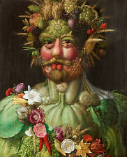 "Giuseppe Arcimboldo : ""Vertumnus"" (Rudolf II) Giclee Fine Art Real Canvas Print"