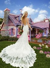 Custom Mermaid White/Ivory Lace Bridal Gown Wedding Dress 6-8-10-12-14-16-18++