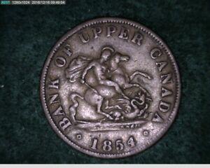 1854 Bank of Upper Canada 1/2 Penny Bank Token ( 19-195 10m1 )