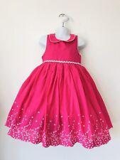 girls summer Dress Pink Sz 5 6 Yrs Embroidered Floral Peter Pan party Dress