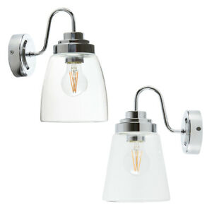 Chrome Swan Neck IP44 Bathroom Wall Lantern Light with Straight or Curved Glass