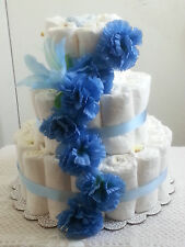 3 Tier Diaper Cake Blue Floral Flower Baby Shower Centerpiece - Boy