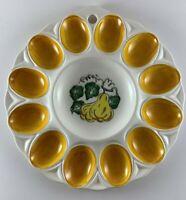 "Deviled egg plate white w/ orange slots hang 9.5"""