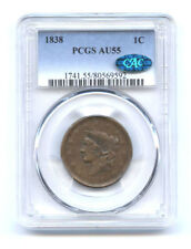 1838 1C PCGS AU 55 WITH CAC STICKER-CORONET HEAD LARGE CENT-