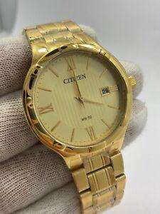 New Citizen Gold Plated Date 50m Japan Date Watch BI5022-50P