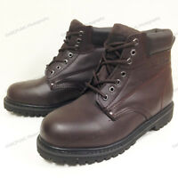 "New Men's Work Boots 6"" Brown Leather Water Resistant /Oil Resistant Sizes:6-15"