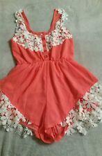 Ladies Orange with Cream Crochet Teddy - Size S