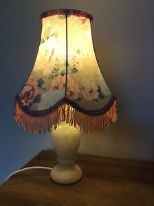 Vintage Table Lamp - Onyx  bass  floral lampshade Cottage Style