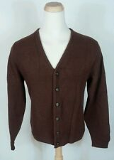 Vtg 50s 60s Campus Brown Cardigan Sweater Shirt Jacket Large Grandpa Rockabilly